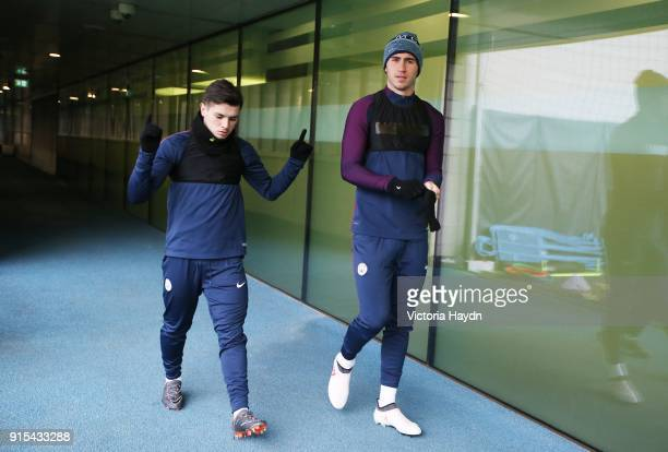 Brahim Diaz and Aymeric Laporte walk to training at Manchester City Football Academy on February 7 2018 in Manchester England