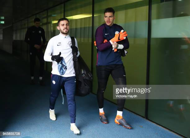 Brahim Diaz and Ederson Moraes walk to training during a training session at Manchester City Football Academy on April 13 2018 in Manchester England