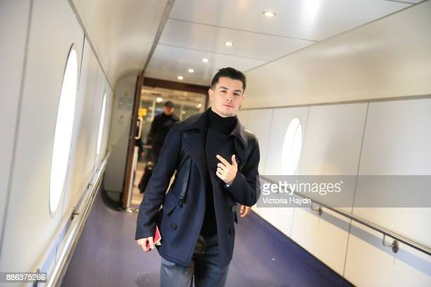Brahim Diaz boards the flight to Kharkiv to face Shakhtar Donetsk in the Champions League on December 4 2017 in Manchester England