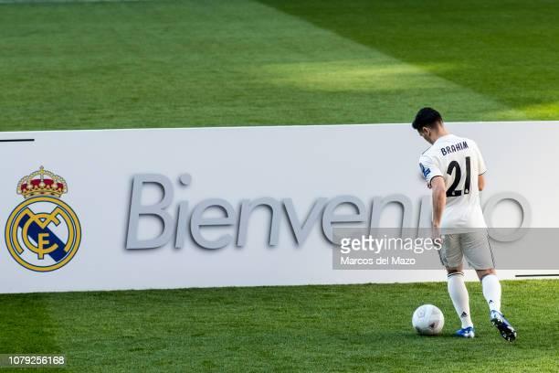 Brahim Diaz during his presentation after signing for Real Madrid at estadio Santiago Bernabeu