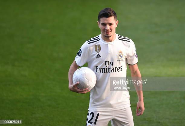 Brahim Diaz is presented to members of the press after signing for Real Madrid at estadio Santiago Bernabe on January 07 2019 in Madrid Spain