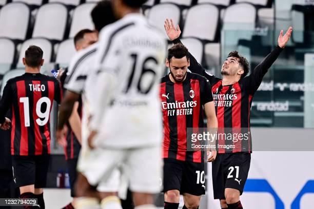 Brahim Diaz of AC Milan Celebrates 0-1 with teammates during the Italian Serie A match between Juventus v AC Milan at the Allianz Stadium on May 9,...