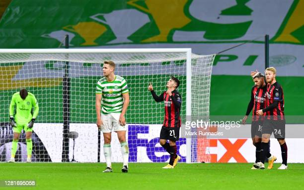 Brahim Diaz of AC Milan celebrates after scoring his sides second goal during the UEFA Europa League Group H stage match between Celtic and AC Milan...