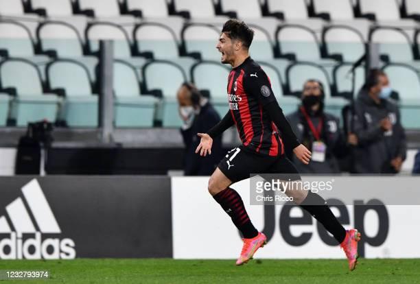 Brahim Diaz of AC Milan celebrates goal during the Serie A match between Juventus and AC Milan at Allianz Stadium on May 9, 2021 in Turin, Italy....