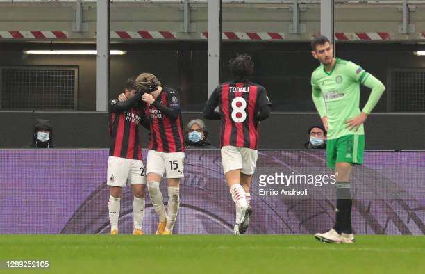 Brahim Diaz of A.C. Milan celebrates with Jens Petter Hauge after scoring their team's fourth goal during the UEFA Europa League Group H stage match...