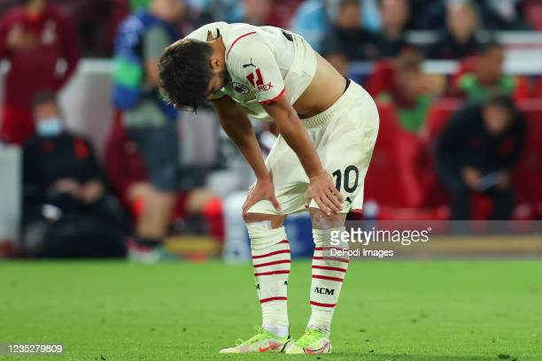 Brahim Diaz of AC Milan looks dejected during the UEFA Champions League group B match between Liverpool FC and AC Milan at Anfield on September 15,...