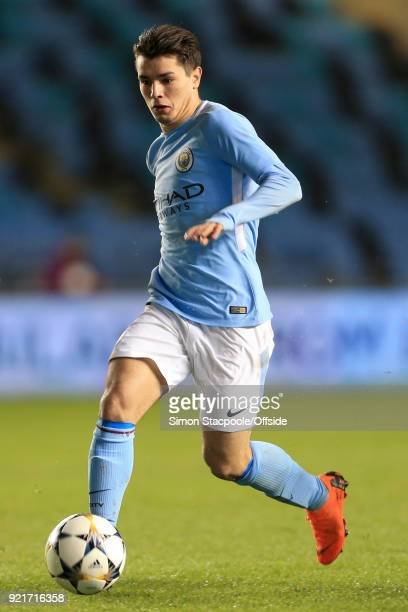 Brahim Diaz of Man City in action during the UEFA Youth League Round of 16 match between Manchester City and Inter Milan at Manchester City Football...