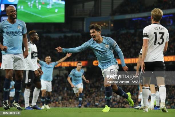 Brahim Diaz of Manchester City celebrates after scoring a goal to make it 10 during the Carabao Cup Fourth Round match between Manchester City and...