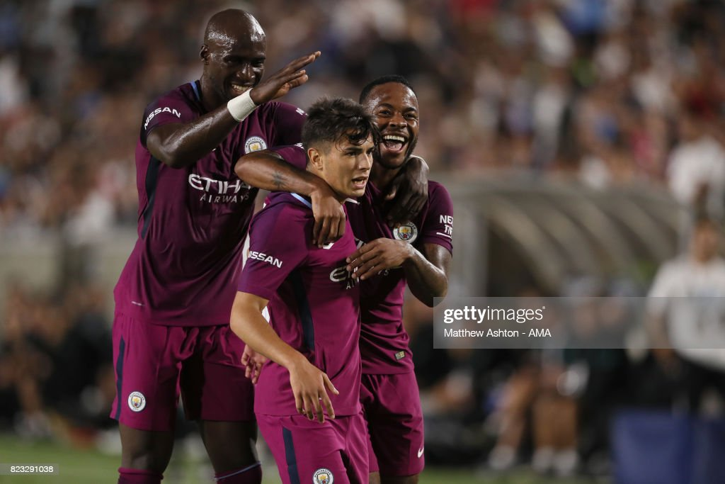 Brahim Diaz of Manchester City celebrates after scoring a goal to make it 4-0 during the International Champions Cup 2017 match between Manchester City and Real Madrid at Los Angeles Memorial Coliseum on July 26, 2017 in Los Angeles, California.