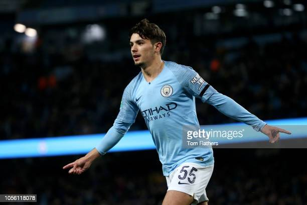 Brahim Diaz of Manchester City celebrates after scoring his team's second goal during the Carabao Cup Fourth Round match between Manchester City and...