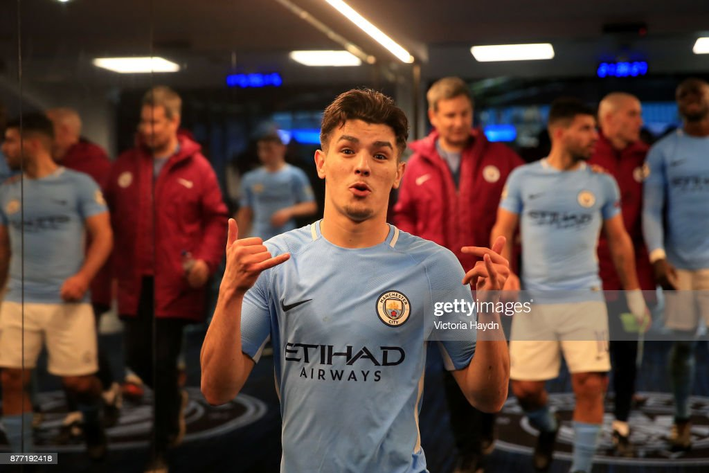 Brahim Diaz of Manchester City celebrates in the tunnel after the UEFA Champions League group F match between Manchester City and Feyenoord at Etihad Stadium on November 21, 2017 in Manchester, United Kingdom.
