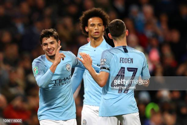 Brahim Diaz of Manchester City celebrates with teammates after scoring his team's second goal during the Carabao Cup Fourth Round match between...