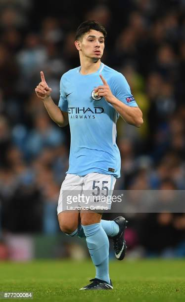 Brahim Diaz of Manchester City comes onto the pitch during the UEFA Champions League group F match between Manchester City and Feyenoord at Etihad...