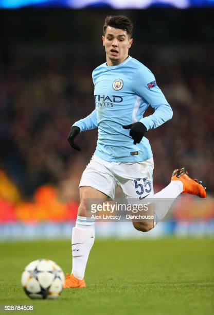 Brahim Diaz of Manchester City during the UEFA Champions League Round of 16 Second Leg match between Manchester City and FC Basel at Etihad Stadium...