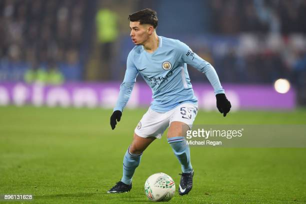 Brahim Diaz of Manchester City in action during the Carabao Cup QuarterFinal match between Leicester City and Manchester City at The King Power...