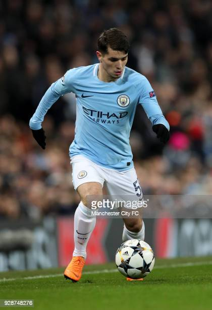 Brahim Diaz of Manchester City in action during the UEFA Champions League Round of 16 Second Leg match between Manchester City and FC Basel at Etihad...