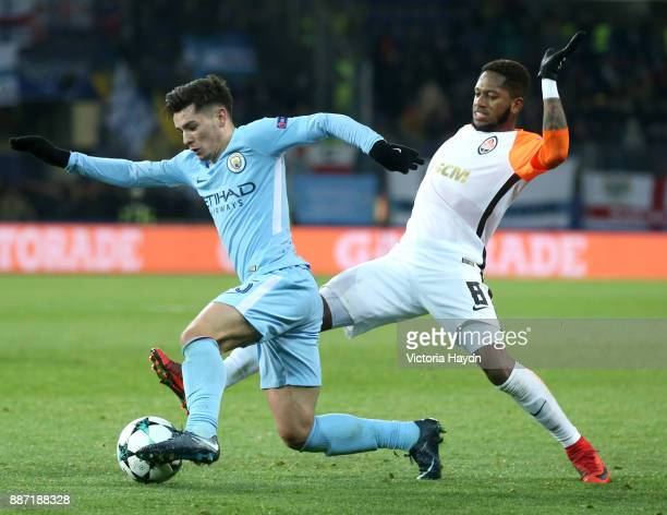 Brahim Diaz of Manchester City is challenged by Fred of Shakhtar Donetsk during the UEFA Champions League group F match between Shakhtar Donetsk and...