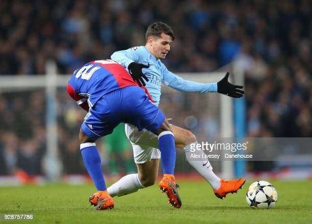 Brahim Diaz of Manchester City is fouled by Geoffroy Serey Die of FC Basel during the UEFA Champions League Round of 16 Second Leg match between...