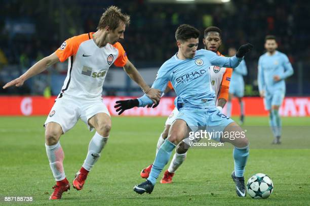 Brahim Diaz of Manchester City is put under pressure during the UEFA Champions League group F match between Shakhtar Donetsk and Manchester City at...
