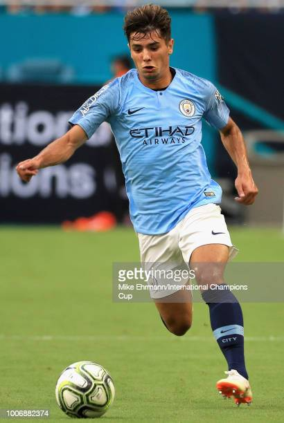 Brahim Diaz of Manchester City moves the ball against FC Bayern Munich during the first half of the International Champions Cup 2018 match at Hard...