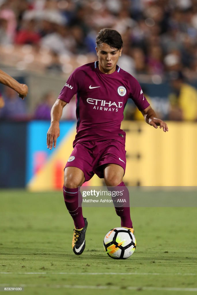 Brahim Diaz of Manchester City on his way to scoring a goal to make it 4-0 during the International Champions Cup 2017 match between Manchester City and Real Madrid at Los Angeles Memorial Coliseum on July 26, 2017 in Los Angeles, California.