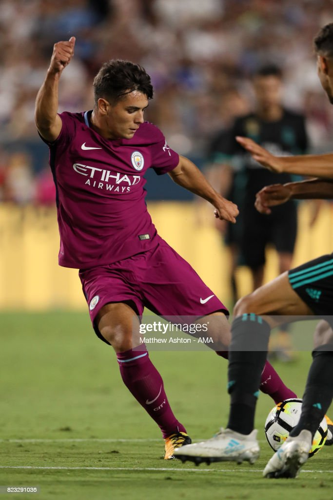 Brahim Diaz of Manchester City scores a goal to make it 4-0 during the International Champions Cup 2017 match between Manchester City and Real Madrid at Los Angeles Memorial Coliseum on July 26, 2017 in Los Angeles, California.