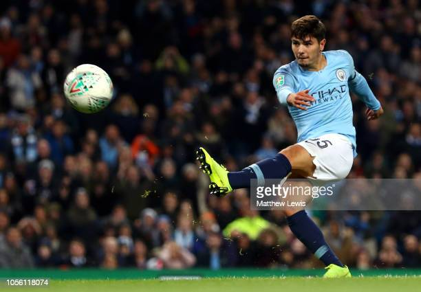 Brahim Diaz of Manchester City scores his team's second goal during the Carabao Cup Fourth Round match between Manchester City and Fulham at Etihad...