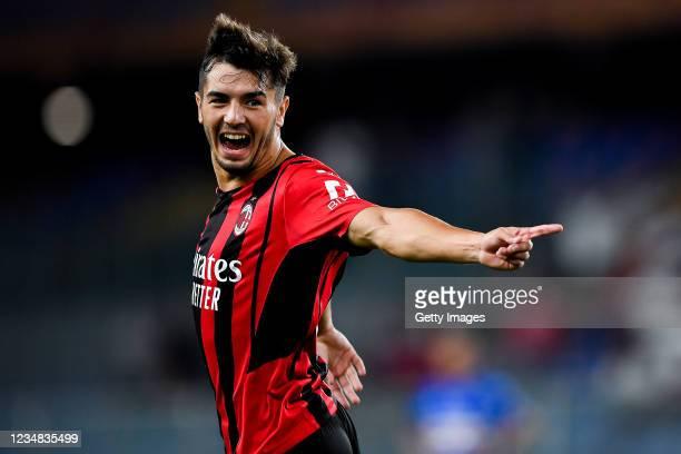 Brahim Diaz of Milan celebrates after scoring a goal during the Serie A match between UC Sampdoria and Ac Milan at Stadio Luigi Ferraris on August...