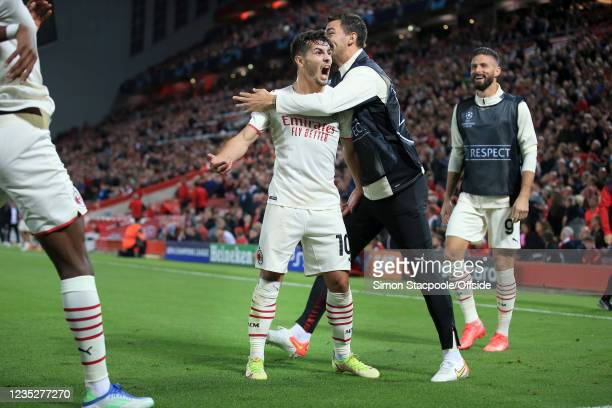Brahim Diaz of Milan celebrates after scoring their 2nd goal during the UEFA Champions League group B match between Liverpool FC and AC Milan at...