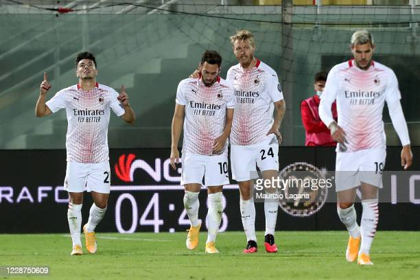 Brahim Diaz of Milan celebrates his team's second goal during the Serie A match between FC Crotone and AC Milan at Stadio Comunale Ezio Scida on...