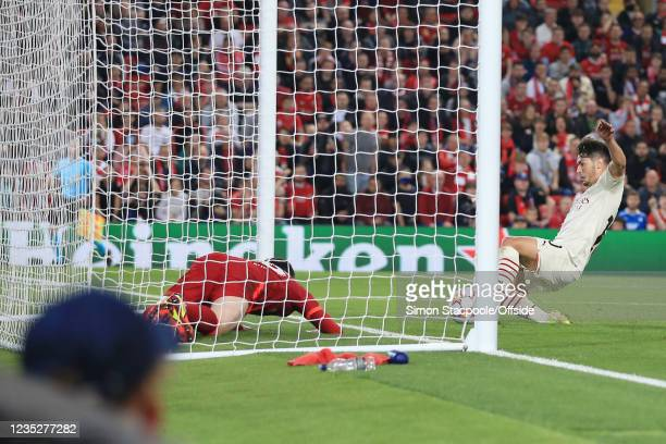 Brahim Diaz of Milan scores their 2nd goal during the UEFA Champions League group B match between Liverpool FC and AC Milan at Anfield on September...