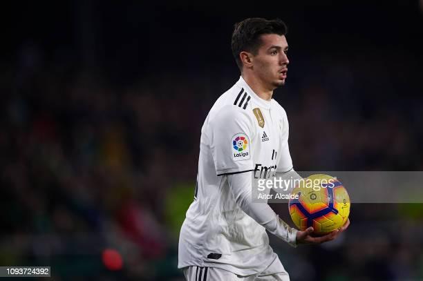 Brahim Diaz of Real Madrid CF looks on during the La Liga match between Real Betis Balompie and Real Madrid CF at Estadio Benito Villamarin on...