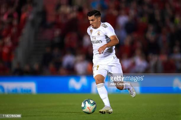Brahim Diaz of Real Madrid CF runs with the ball during the La Liga match between RCD Mallorca and Real Madrid CF at Iberostar Estadi on October 19,...