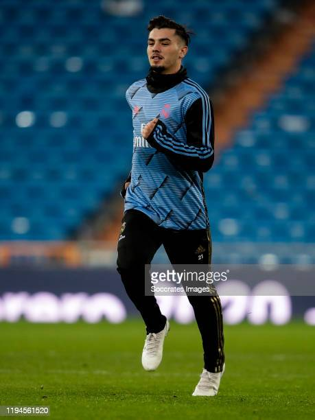 Brahim Diaz of Real Madrid during the La Liga Santander match between Real Madrid v Sevilla at the Santiago Bernabeu on January 18 2020 in Madrid...