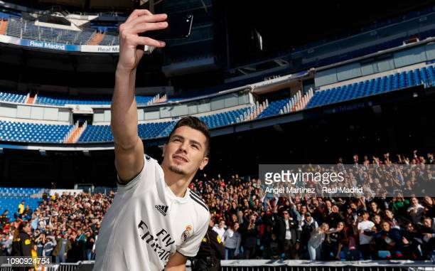 Brahim Diaz of Real Madrid takes a selfie during his official presentation at Santiago Bernabeu stadium on January 07 2019 in Madrid Spain