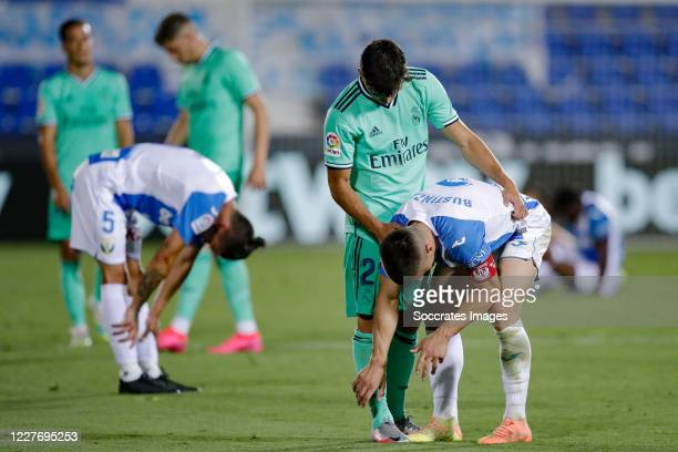 Brahim Diaz of Real Madrid Unai Bustinza of Leganes during the La Liga Santander match between Leganes v Real Madrid at the Estadio Municipal de...