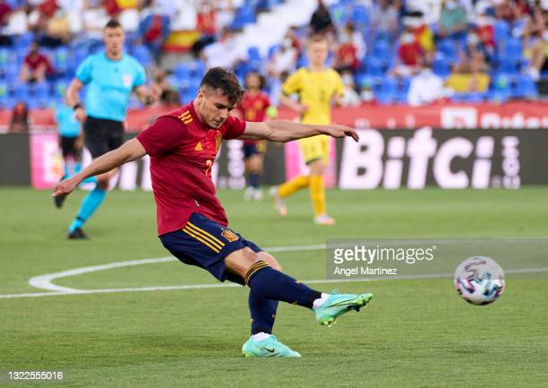 Brahim Diaz of Spain U21 scores their team's second goal during the international friendly match between Spain U21 and Lithuania at Estadio Municipal...