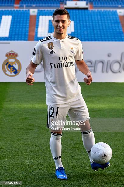 Brahim Diaz poses on the pitch after being announced as a new Real Madrid player at Santiago Bernabeu Stadium on January 07 2019 in Madrid Spain