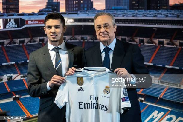 Brahim Diaz posing with President of Real Madrid Florentino Perez after being announced as a new Real Madrid player at Santiago Bernabeu Stadium