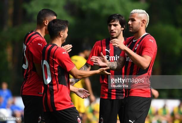 Brahim Diaz , Rafael Leao, Theo Hernandez and Sandro Tonali celebrate the first goal during a Pre-Season Friendly between AC Milan and Modena at...