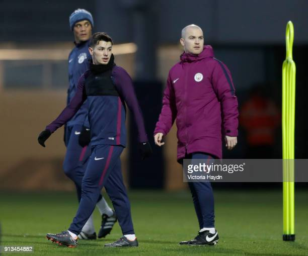 Brahim Diaz reacts during training at Manchester City Football Academy on February 2 2018 in Manchester England