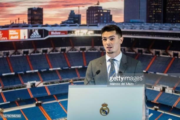 Brahim Diaz speaking during his presentation after signing for Real Madrid at estadio Santiago Bernabeu