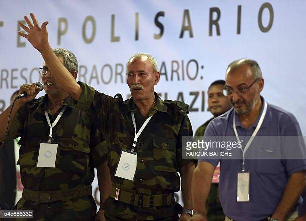 Brahim Ghali newly elected Polisario secretary general and president of the selfproclaimed Sahrawi Arabic Democratic Republic gestures during the...