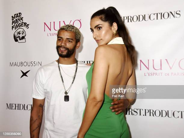 Brahim Zaibat and model Farnoush Hamidian attend Mauboussin Private Party Hosted by Select vu First Production At Villa Rue Pierre Guerin on July 09...