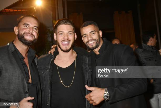 Brahim Zaibat partner Korchi Mourad Actor Rayane Bensetti and Brahim Zaibat attend the Brahim Zaibat Party At Le Masha Club on October 27 2018 in...