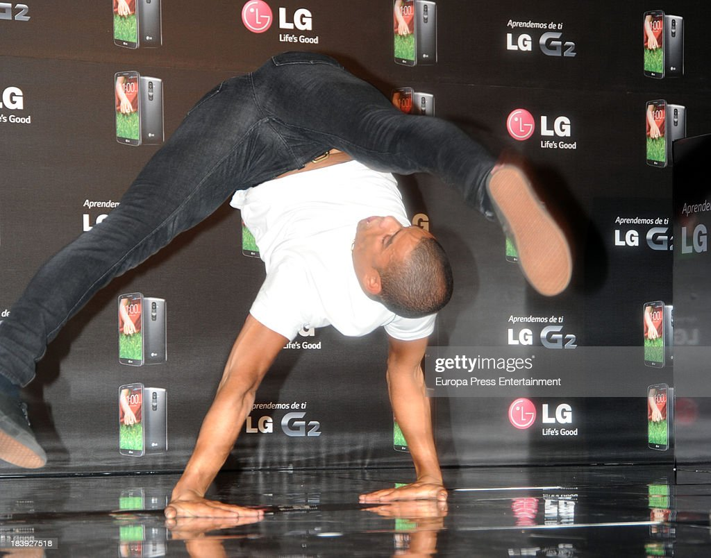 Brahim Zaibat presents the new smartphone LG G2 on October 9, 2013 in Madrid, Spain.