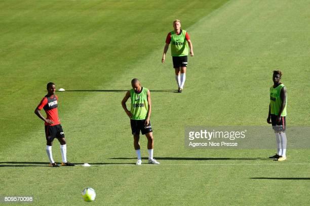 Brahima Diallo Fabinho Kamil Glik and Kevin Ndoram of Monaco during the training session of AS Monaco on July 5 2017 in Monaco Monaco
