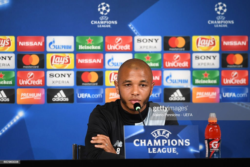 Brahimi of FC Porto faces the media during a press conference ahead of the UEFA Champions League Round of 16 second leg match between Juventus FC and FC Porto at Juventus Stadium on March 13, 2017 in Turin, Italy.