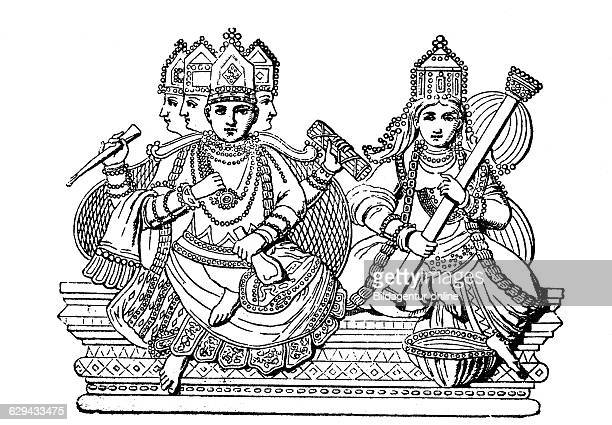 Brahma and saraswati hindu gods india woodcut from 1880