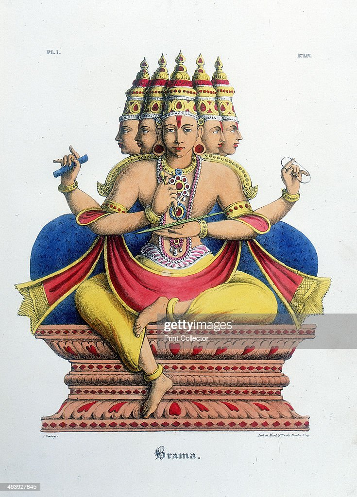 Brahma, first god of the Hindu trinity (trimurti), and creator of the universe, c19th century. Artist: A Geringer : News Photo